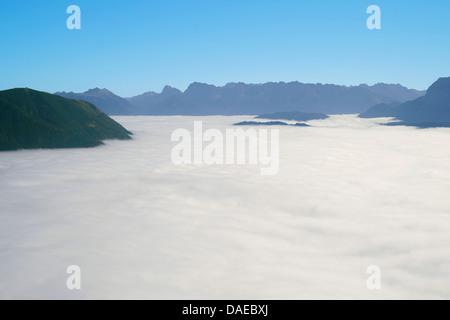 view over ground fog to Karwendel, Germany, Bavaria, Oberbayern, Upper Bavaria, Garmisch-Partenkirchen - Stock Photo