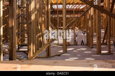New home custom construction in rural Oklahoma, USA, showing the interior of a home in progress. - Stock Photo