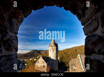 view through a window with a round arch at Altena Castle on the Klusenberg, Germany, North Rhine-Westphalia, Sauerland, - Stock Photo