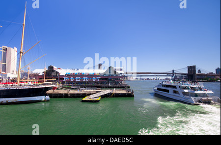 NEW YORK CITY - AUG 29: Pier 17 at South Street Seaport in NYC seen on Aug 29, 2012. - Stock Photo