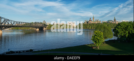 Ottawa river and Ottawa skyline viewed from Museum of Civilization on a beautiful day of spring - Stock Photo
