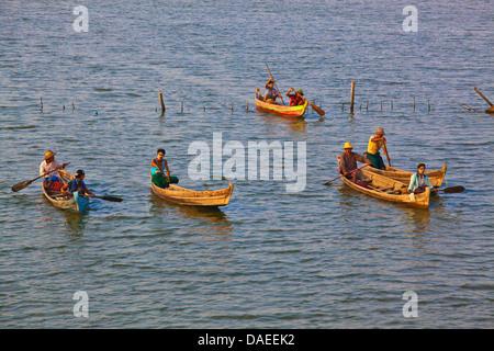 fischermen on Taungthaman Lake, Burma, Amarapura - Stock Photo