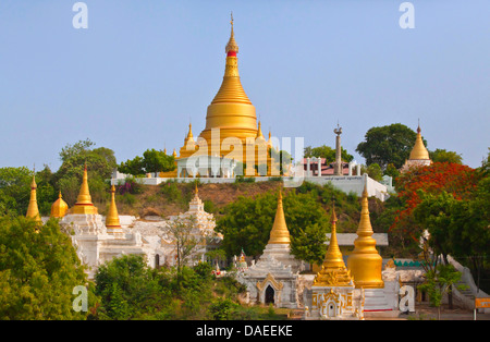 buddhistic monastery on Sagaing hill, Burma, Sagaing, Mandalay - Stock Photo
