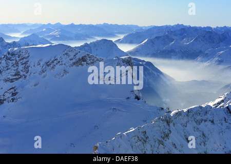 View over Snow capped Mountain Range, Zugspitze, Germany, Bavaria, Zugspitze - Stock Photo