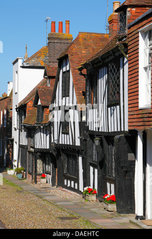 Medieval houses in Rye, East Sussex, England, UK, GB - Stock Photo