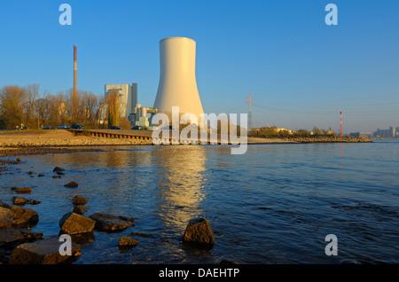 power station at Rhine River, Germany, North Rhine-Westphalia, Ruhr Area, Duisburg - Stock Photo