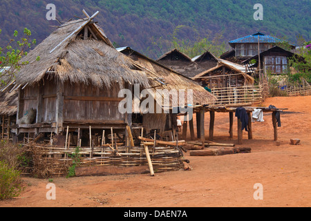 houses in a typical Akha village, Burma, Kyaingtong/Kengtung - Stock Photo