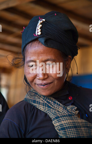 Ann tribal woman in traditional dress, portrait, Burma, Kengtung, Kyaingtong - Stock Photo