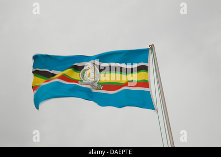 flag of the East African Community blowing in the wind, Rwanda - Stock Photo