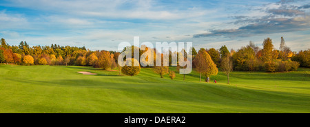 golf course with autumn trees, Germany, Bavaria - Stock Photo