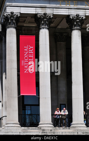 London, England, UK. National Gallery in Trafalgar Square, people by the entrance - Stock Photo