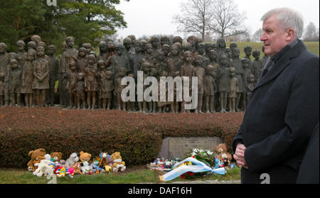 Premier of Bavaria Horst Seehofer stands in monument for the murdered children in Lidice Memorial after laying a - Stock Photo