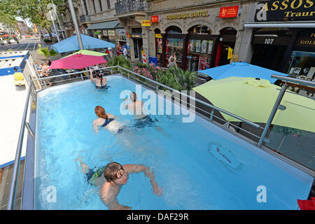 Karlsruhe germany 11th july 2013 people go for a swim in a mobile stock photo 58108786 alamy - Pool karlsruhe ...