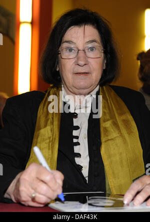 FILE - An archive picture dated 13 September 2009 shows the German writer Christa Wolf at the Babylon cinema in - Stock Photo