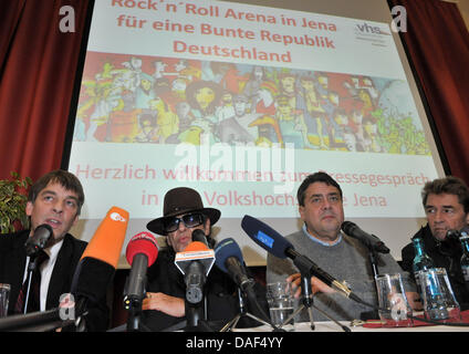 Lord Mayor of Jena Albrecht Schroeter (L-R, SPD), musician Udo Lindenberg, SPD chair Sigmar Gabriel and singer Peter - Stock Photo