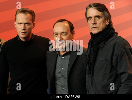 British actors Jeremy Irons (R), Paul Bettany (L), and US actor Kevin Spacey pose during the press conference for - Stock Photo