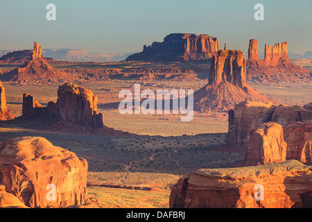 USA, Arizona, View over Monument Valley from the top of Hunt's Mesa - Stock Photo