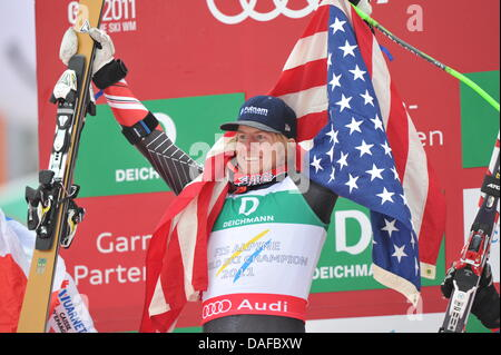 Ted Ligety of the USA celebrates on the podium after winning the Men's Giant Slalom at the Skiing World Championships - Stock Photo
