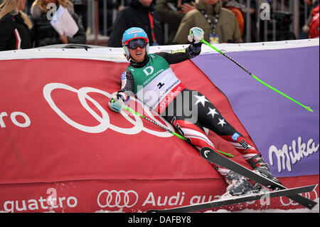 Ted Ligety of the USA crashes into the side fence after winning the Men's Giant Slalom at the Skiing World Championships - Stock Photo