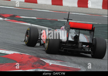 British formula one pilot Jenson Button of Team McLaren Mercedes in action during the official test run along the - Stock Photo