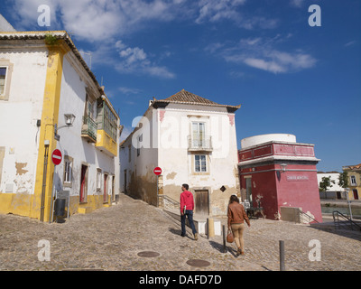 picturesque and colourful street in the old city center of Tavira, Algarve, Portugal - Stock Photo