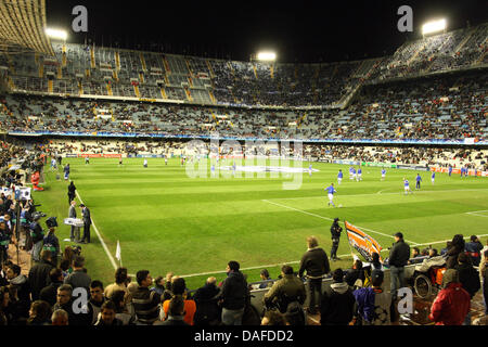 General view of the stadium prior to the UEFA Champions League round of sixteen match FC Valencia vs. FC Schalke - Stock Photo