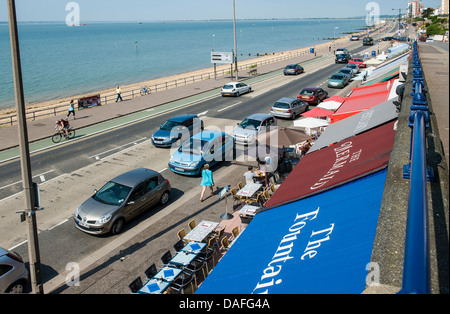 A strip of café's, along the seafront at Southend on Sea, known as 'the arches' - Stock Photo