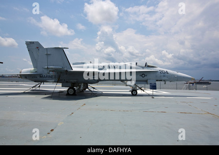 F/A-18A fighter jet on the flight deck of the the USS Yorktown aircraft carrier docked at Patriot's Point in South - Stock Photo