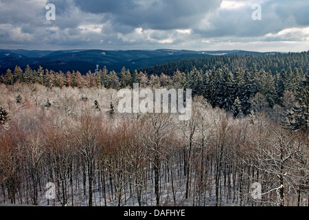 view of Sauerland from lookout Hohe Bracht in winter, Germany, North Rhine-Westphalia, Sauerland, Lennestadt-Bilstein - Stock Photo
