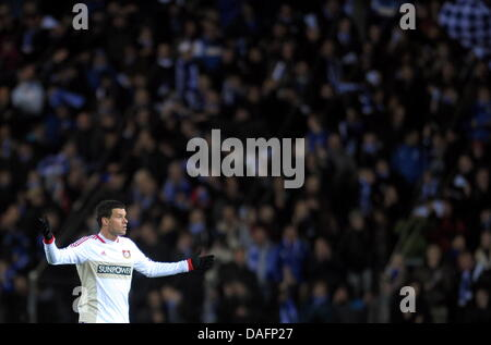 Leverkusen's Michael Ballack gestures during the Champions League group E game between KRC Genk and Bayer Leverkusen - Stock Photo
