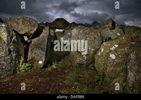 Creggandevesky Neolithic Court Tomb in County Tyrone, Northern Ireland, UK - Stock Photo