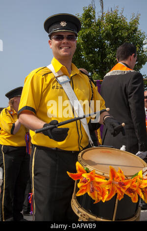 Southport, UK 12th July, 2013.    Orangemen's Day parade assembling in London Street.  A number of Orange Order - Stock Photo