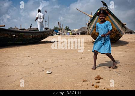 Beautiful girl on the beach. Puri, Orissa, India - Stock Photo