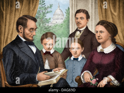 President Abraham Lincoln and his family reading a book in the White House. Digitally colored halftone of an illustration - Stock Photo