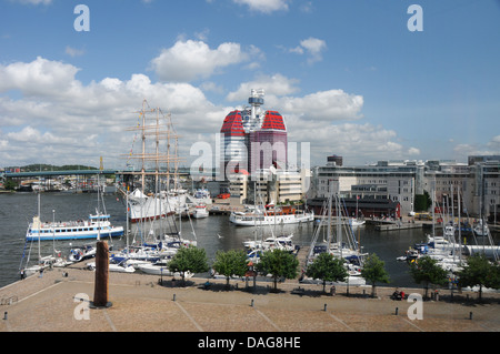 Overview of the 'Viking' schooner at Lilla Bommens Torg in Gothenburg or Goteborg on the West Coast of  Sweden - Stock Photo