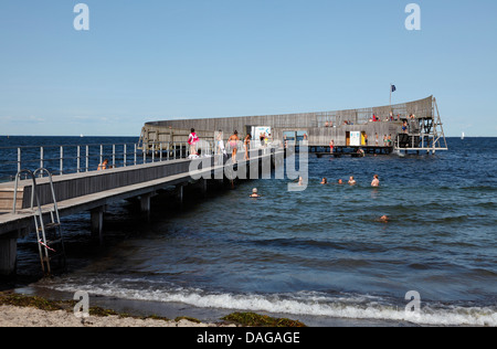 Sneglen, the Snail, Kastrup Søbad, Kastrup Public Baths, on Amager, Copenhagen, Denmark. Architect designed platform - Stock Photo