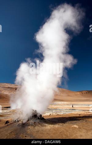 Steaming Fumaroles at Namafjall Hverir - Myvatn Region, North Central Iceland - Stock Photo
