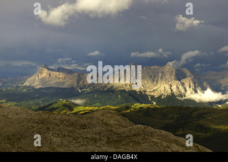 view from Sella group to Fanes group after thunderstorm in evening light, Italy, Dolomites - Stock Photo