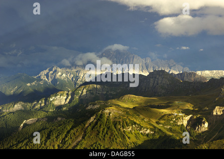view from Sella group to Civetta after thunderstorm in evening light, Italy, Dolomites - Stock Photo