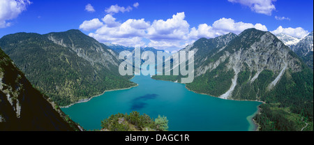 panoramic view over the Plansee, Austria, Tyrol, Ammergebirge - Stock Photo