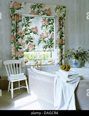 Curtains Ideas curtains for window seat : Pink Floral Curtains And Pelmet On Open Window Above Window Seat ...
