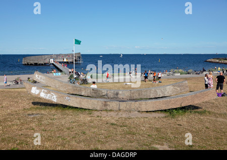 The Snail, Sneglen, Kastrup Søbad, Kastrup Public Baths on Amager, Copenhagen, Denmark. In front the sculpture Without - Stock Photo