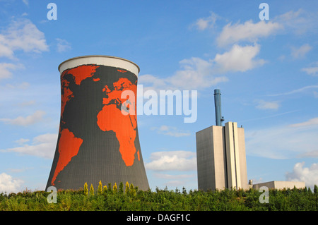 world painted on cooling tower of nuclear power station Meppen, Germany, Lower Saxony, Emsland, Meppen - Stock Photo