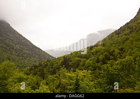 (L to R) Mt Webster, Mt Bemis, Mt Willey and Mt Willard are pictrued in the Crawford Notch State Park in New Hampshire - Stock Photo