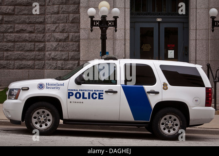A Homeland Security police car of the Federal Protective Service is seen in Milwaukee - Stock Photo