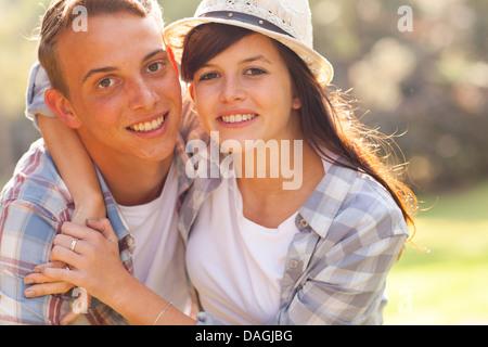 cute teenage couple first love - Stock Photo