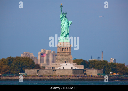 statue of liberty seen from the Staten Island Ferry, USA, New York (state), Staten Island, New York City - Stock Photo
