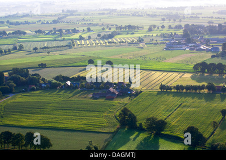 aerial view to agricultural area with fields, grasslands and hedges in spring, Belgium, Kempen - Stock Photo