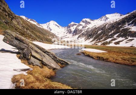 mountain creek near Hochfeiler, Italy, Zillertaler Alpen, Pfitscher Tal - Stock Photo
