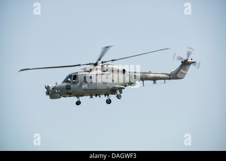 British Royal Navy Lynx Helicopter demonstrates at the RAF Waddington Air Show